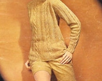KNITTING PATTERN - Cable Twist Sweater - 70s Cable Knitted Pullover Pattern - PDF Instant Download - Fitted Beige Sweater - Digital Pattern