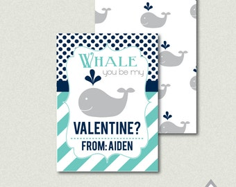Whale You Be My Valentine, Blue Whale Valentine, Boy Valentine, Childrenu0027s  Valentine,