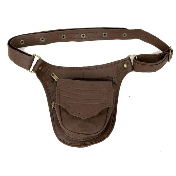 brown leather utility belt for mens big pockets by