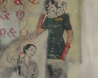 woman art mixed media college original 12 x16 vintage magazine images 3D art Mind Your P's and Q's assemblage mixed media original wall art
