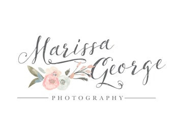 Premade Handprinted watercolor flower Logo - Photography Logo and Watermark Design - Photography or Boutique Logo  - Business Branding