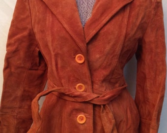 Women's Vintage Cowhide Leather Jacket Size 14 Made in Uruguay