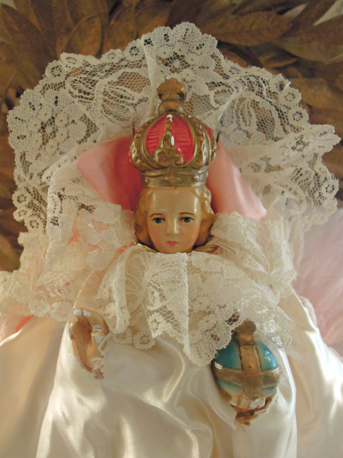 Vintage Infant Of Prague Doll Roman Catholic Icon Baby