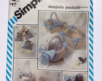 Simplicity 5743, Dresser Accessories, String Quilted, Easter Basket Pattern, Sachet Pattern, Quilted Containers Pattern, Marjorie Puckett