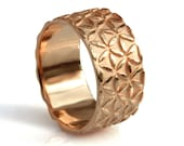 14k wide rose gold band, men's wedding band, women's gold band, flower of life pattern, floral motif, hand engraved gold band, handcrafted