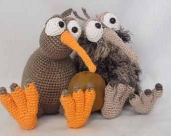 Amigurumi Crochet Pattern - Kirk and Wilma the Kiwis