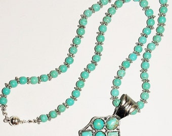 Turquoise Necklace with Removable Pendant - S2387