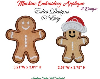 Holiday Appliques Machine Embroidery Designs Gingerbread Applique Designs Digital Download