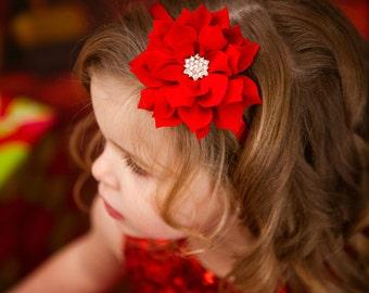 Lotus Flower Headband in Red, Flower Headband, Headband, Girls Headband, Red Flower Headband, Girl Headband, Red Christmas Headband