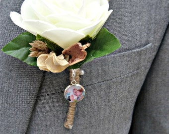 Buttonhole Photo Clip. Photo charm for Grooms to have loved ones with them on their wedding day