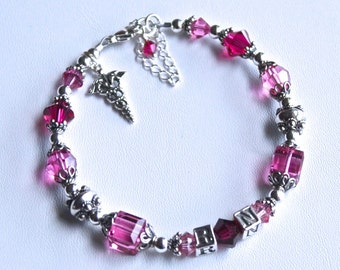 Nurse Beaded RN Bracelet -Bali Silver - Ruby and Pink Swarovski Crystals