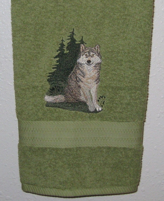 Embroidered Wolf Bath Towel Wolf Home Decor By