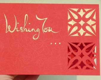 wishing You (hand cut and painted greeting card set)