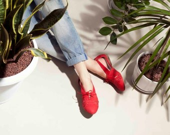 SALE 30% Off // Red Flats, Summer Shoes, Leather Shoes, Handmade Shoes,  Women Shoes