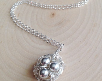 Handmade Silver Bird Nest With Sterling Silver Round Beads