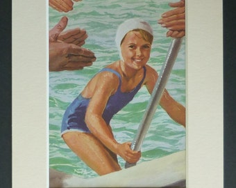 1960s Vintage Mounted Peter and Jane Print of Swimming in the Sea, Retro watersport art, available framed illustration art old vintage print