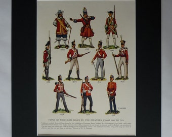 Antique Military Print of British Uniforms, Available Framed, Army Art, Soldier Gift, Infantry Picture, Red Coat Picture War of Independence