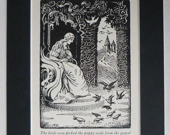 1928 Antique Kazimir Klepacki Print of a Fairy tale Queen Feeding the Birds, Bird Feeding Decor, Available Framed, Childrens Art Poppy Seeds