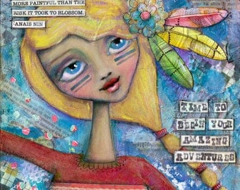 Large 12x12 Brave Girl Art with Inspirational Quote, Pretty Girl PRINT, Girly Colorful Wall Art, Personalize Your Custom Print