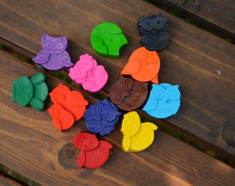 Owl Crayons set of 24 - Owl Party Favors