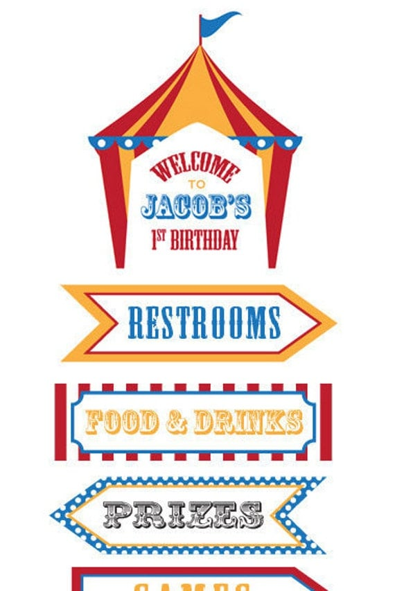 dumbo circus personalized birthday directional sign. Black Bedroom Furniture Sets. Home Design Ideas