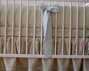 Linen Crib  bedding - gathered skirt  - Nursery bedding