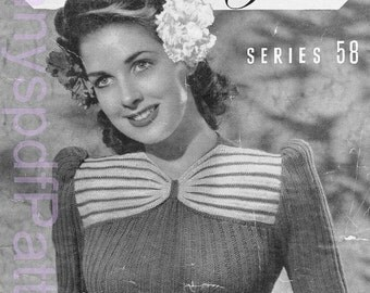 1940s Knitting Patterns -  Australian Sun Glo Knitting Pattern Booklet No - 58   PDF COPY