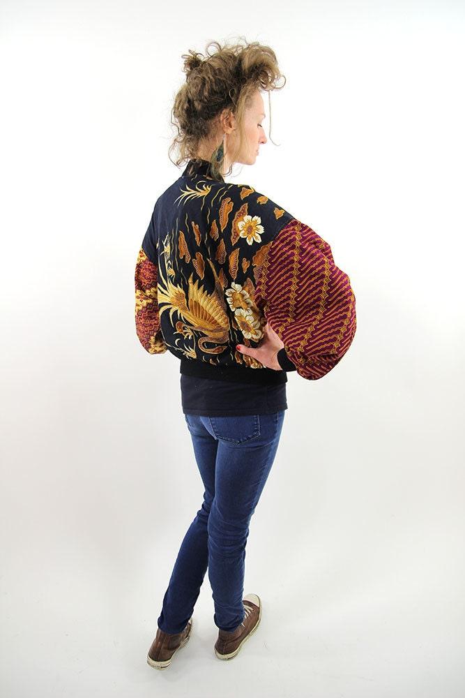 exclusif veste vintage floral coupe vent femme moyen m. Black Bedroom Furniture Sets. Home Design Ideas