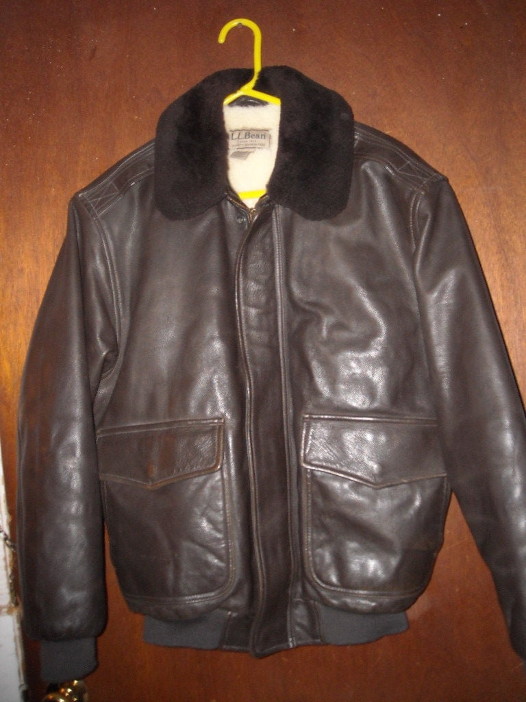 Vintage LL Bean Flying Tiger Brown Leather Bomber Jacket Mens