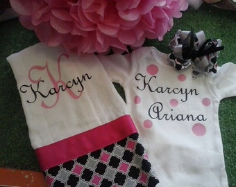 Baby gift set of personalized onesie, burpcloth, and matching bow
