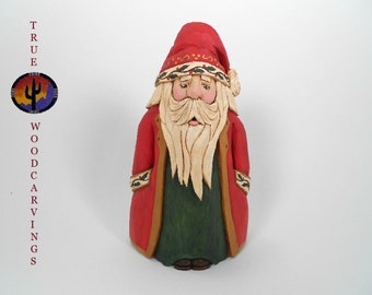 Wood Hand Carved Collectible Santa