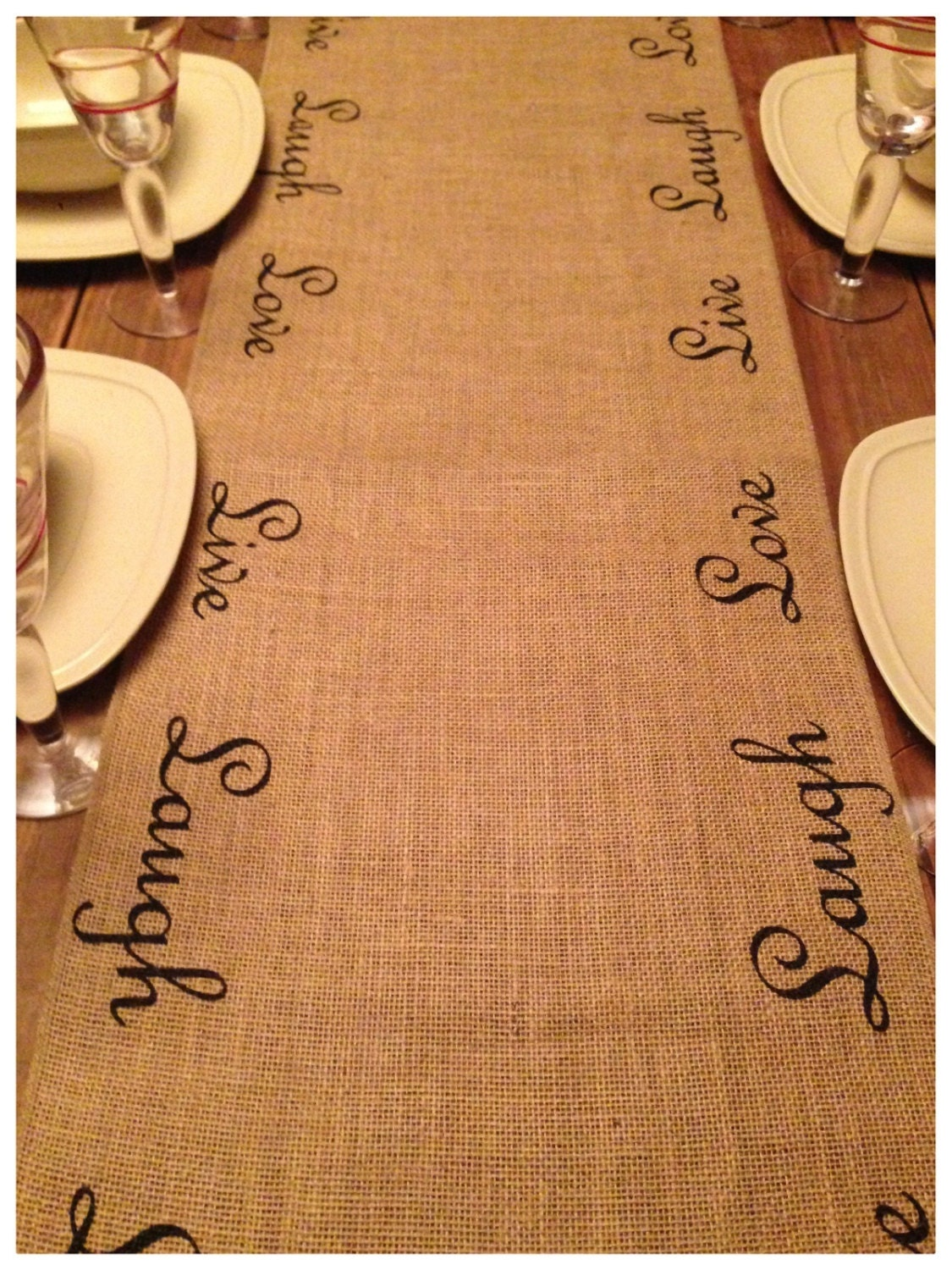 Burlap Table Runner 16 Or 18 Wide Live Laugh Love On Both Edges Of