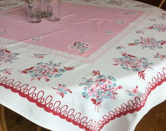 vintage Pink and Blue Floral spring Tablecloth