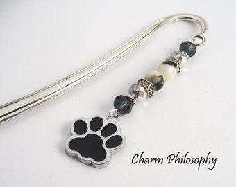 Dog Bookmark - Dog Paw Charm - Beaded Bookmark - Dog GIft Ideas - Dog Sympathy Gift