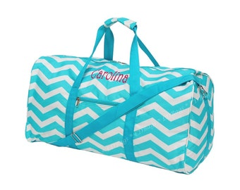 Monogrammed Aqua Chevron Duffle Bag | Personalized Duffle Bag, Cheer Team Duffle Bag, Aqua Chevron Duffle Bag 21""