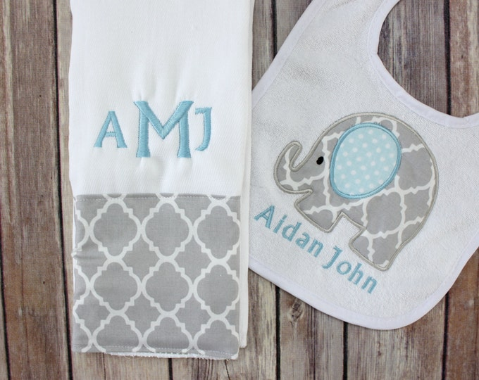 Monogrammed Burp Cloth Bib Set for Baby Boy - Elephant Quatrefoil Burp Cloth and Personalized Bib - Baby Boy Elephant Gift Set - Monogram