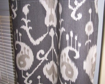"Charcoal Grey Ikat Curtains With Grommets, Choose Unlined or Lined With 100% Blackout, Pair Drapery Panels, Neutral, 50"" Wide,Blackout Lined"