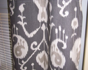 Charcoal Grey Ikat Curtains With Grommets, Choose Unlined Or Lined With  100% Blackout,