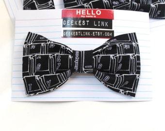 Geek Keyboard Bow Tie White on Black