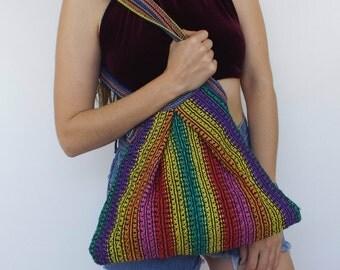 Festival Fab Vintage Chunky Knit Rainbow Shoulder Bag