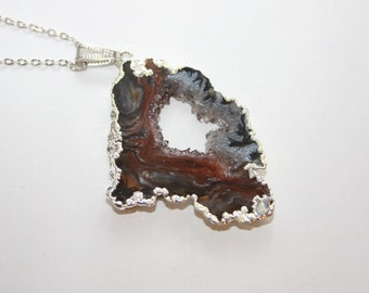 Natural Gemstone Druzy Geode Agate Slice Pendant with chain - Ready to Ship