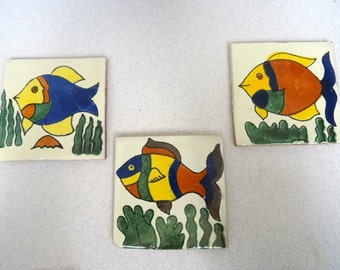 Hand painted Red ClayTiles Tropical Fish
