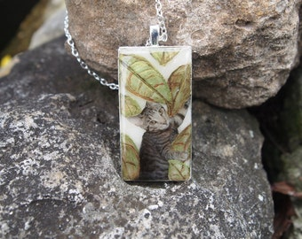 Cat Necklace. Polymer Clay and Resin Necklace
