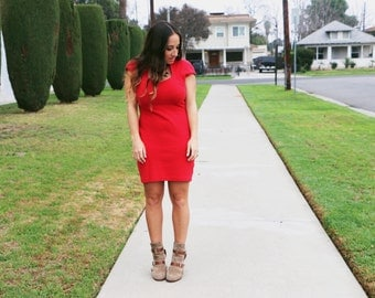 Vintage 1980's Red Body Con Dress