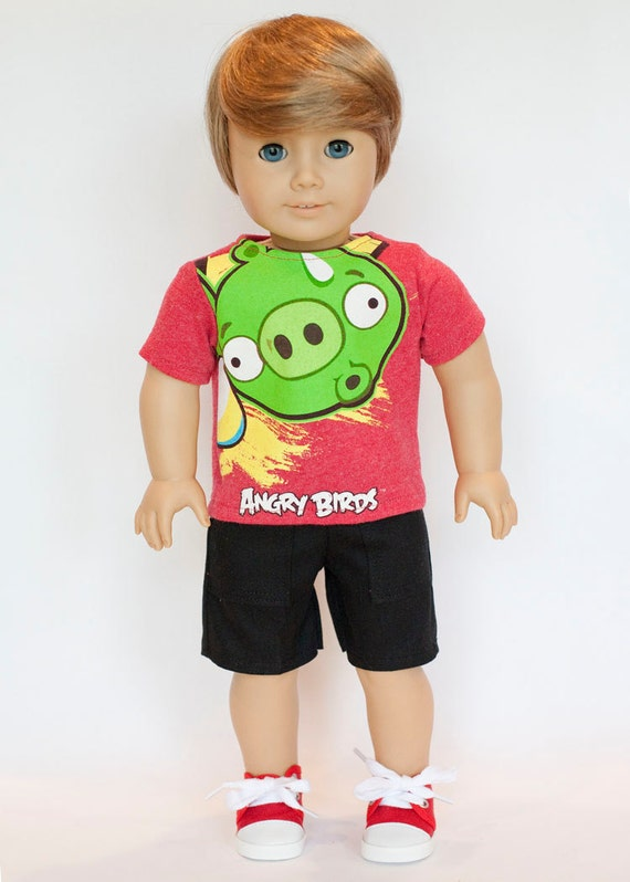 American Boy doll upcycled Angry Birds T shirt