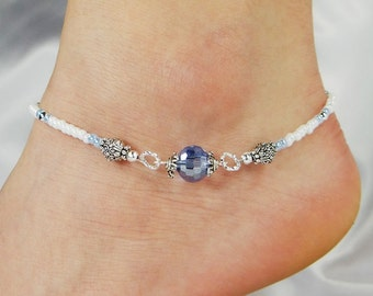 Anklet, Ankle Bracelet, Light Blue Disco Ball Crystal, Beaded Anklet Something Blue Wedding Anklet Beach Anklet Ankle Jewelry Cruise Jewelry