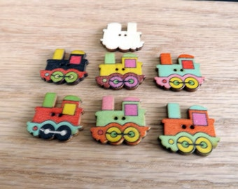 10 train buttons wooden train buttons 2 hole wood buttons