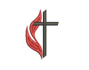 Machine Embroidery Design Instant Download - Cross Methodist 2