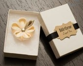 Lapel Pin Flower - Cream Kanzashi Flower Lapel Pin with Swarovski Golden Shadow Crystal
