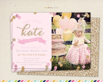 First Birthday- Printable Invitations Pink and Gold